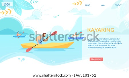 Kayaking Horizontal Banner, Sport Competition. Sportsmen Rowing in Kayaks at Rocky Shore. Summer Vacation Water Fun. Tourists Company Extreme Activity, Nature Leisure, Cartoon Flat Vector Illustration