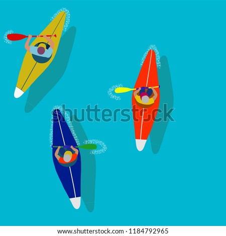 Kayaking Man Vector. Rafting. Vest Jacket, Paddle Oar, Kayak Boat. Kayaking Water Sport. Flat Cartoon Illustration rowing first-person. Beautiful cartoon. rowing outdoor fun. kayaking with lettering