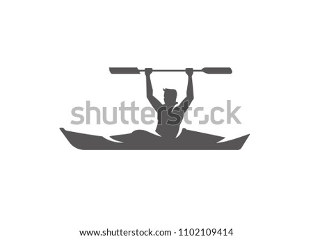 Kayaking silhouette isolated on white background vector illustration. Man holding paddle vector graphic emblem.