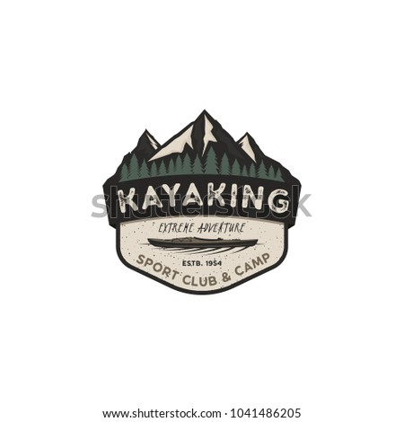Kayaking vintage badge. Mountain explorer label. Outdoor adventure logo design. Travel and hipster insignia. Wilderness, forest camping emblem. Stock vector.