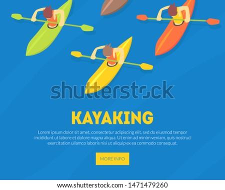 Kayaking Water Sport Landing Page Template, Athletes Paddling Kayaks, Extreme Sport Vector Illustration