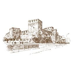 Kayseri Castle view in Kayseri City of Turkey. Engraving