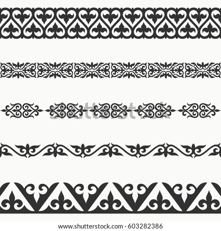 Kazakh seamless borders. Border decoration elements patterns. Most kazakh ethnic border in one pack set collections. Classical pattern design. Vector illustrations.Could be used as divider, frame, etc Zdjęcia stock ©