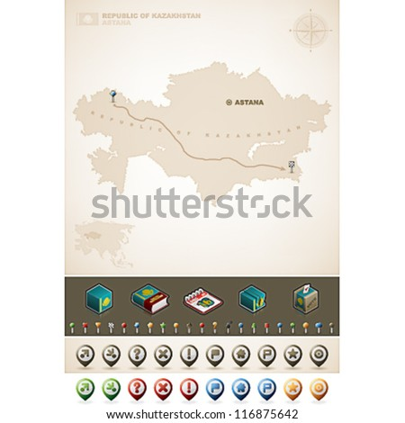 Kazakhstan and Asia maps, plus extra set of isometric icons & cartography symbols set - stock vector