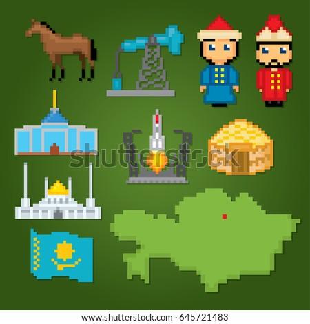 Kazakhstan icons set. Pixel art. Old school computer graphic style. Games elements.