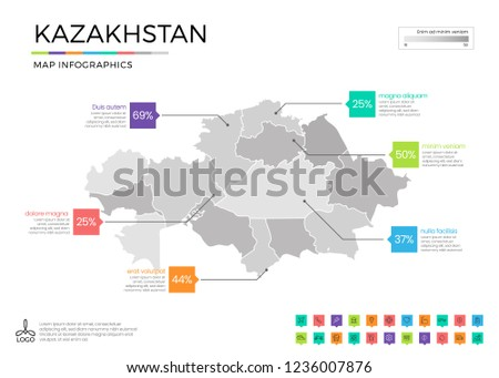 Kazakhstan map infographics with editable separated layers, zones, elements and district area in vector #1236007876