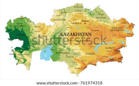 Kazakhstan relief map