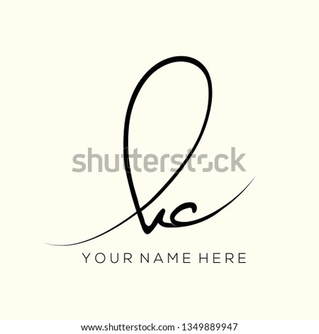 KC monogram.Signature style typographic logo with script letter k and letter c.Handwritten lettering icon isolated on light color background.Calligraphic sign.Lowercase initials.