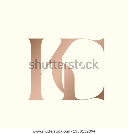 KC monogram.Typographic logo with serif letter k and letter c intertwined.Uppercase lettering icon in rose gold metallic color isolated on light background.Stylish initials.Modern, luxury style.
