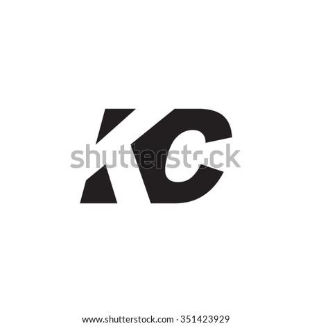 KC negative space letter logo Stok fotoğraf ©