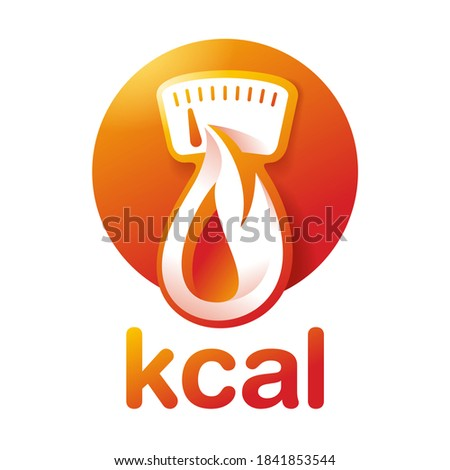 kcal icon (calories sign) combination of flame (fat burning) and weight scales dial - isolated vector emblem for healthy food, fitness or diet program packaging Photo stock ©