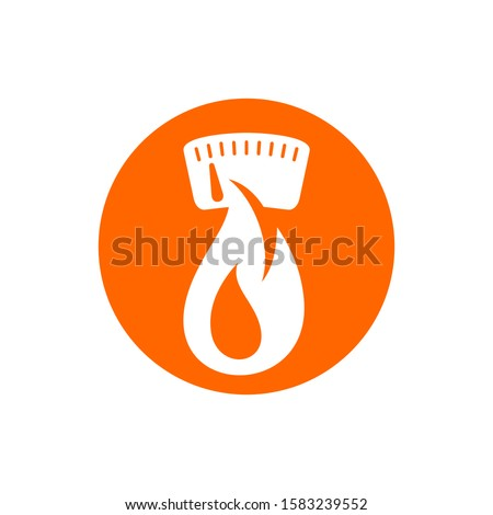 kcal icon (calories sign) combination of flame (fat burning) and weight scales - isolated vector emblem for healthy food, fitness or diet program packaging