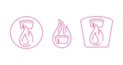 kcal icon (calories sign) combination of flame (fat burning) and weight scales - thin line emblem in 3 variations for healthy food, fitness or diet program packaging