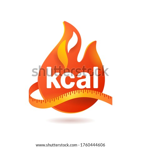 kcal icon - kilocalorie symbolic emblem for food products cover designation - fat burning visual - isolated vector element Foto d'archivio ©