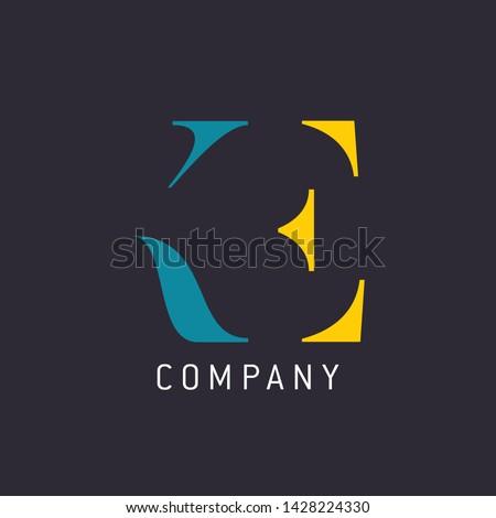 KE company logo. Monogram logo. Letters K and E. Stok fotoğraf ©