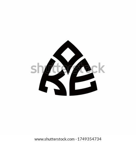 KE monogram logo with modern triangle style design template isolated on white background Stok fotoğraf ©