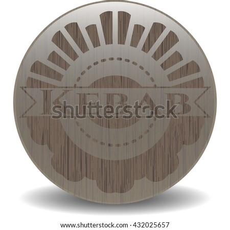 Kebab retro style wooden emblem