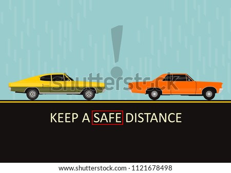 Keep a safe distance. Dangers on the road. Infographic with two cars. Flat vector.