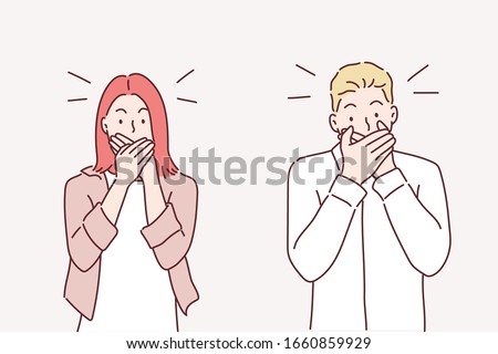 Keep a secret be quiet concept. Two secretive people keeping mouth shut. Hand drawn style vector design illustrations.