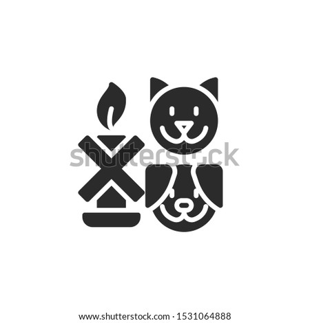 Keep away from animals. Dog, cat with candle filled icon. Labeled for fire safety. Labeling for wax candles. Sings for desing, for a website, for label printing.