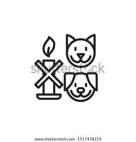 Keep away from animals line icon. Labeled for fire safety. Labeling for wax candles. Sings for desing, for a website, for label printing.