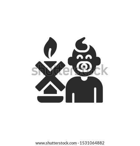 Keep away from children. Baby children and candle filled icon. Labeled for fire safety. Labeling for wax candles. Sings for desing, for a website, for label printing.