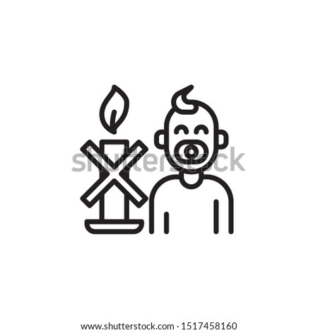 Keep away from children line icon. Labeled for fire safety. Labeling for wax candles. Sings for desing, for a website, for label printing.