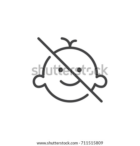 Keep away from children line icon, outline vector sign, linear style pictogram isolated on white. Symbol, logo illustration. Editable stroke