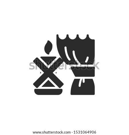 Keep away from combustibles. candle and curtain filled icon. Labeled for fire safety. Labeling for wax candles. Sings for desing, for a website, for label printing.