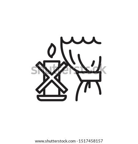 Keep away from combustibles line icon. Labeled for fire safety. Labeling for wax candles. Sings for desing, for a website, for label printing.