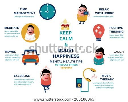 keep calm and boost happiness, mental health tips to reduce stress infographic, vector illustration.
