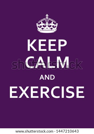 Keep Calm And Exercise Purple Poster With Crown