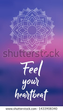 Keep Calm - Mediation and Yoga Spiritual sacred geometry background with mandala and blurred calm sunset clouds in the background. Psychedelic natural health energy abstract design banner concept.