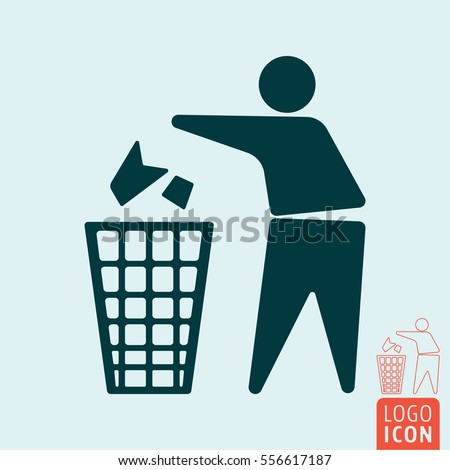 Keep clean icon. No littering - use trash can symbol. Vector illustration