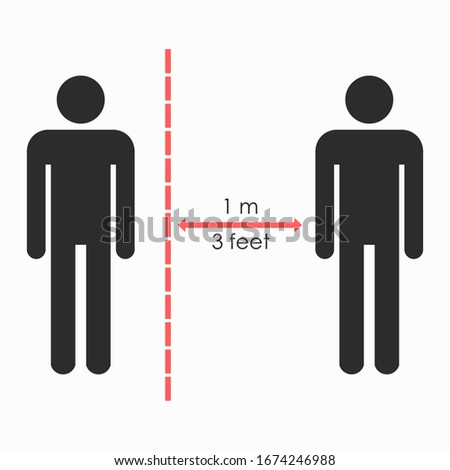 Keep distance sign. Please keep your distance. Coronovirus epidemic protective equipment. Preventive measures. Steps to protect yourself. Keep the 1 meter distance. Vector illustration.