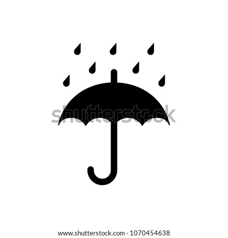 Keep dry packaging symbol, umbrella and raindrops. Vector illustration