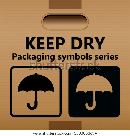 KEEP DRY symbol for use on cartons, packages and parcels