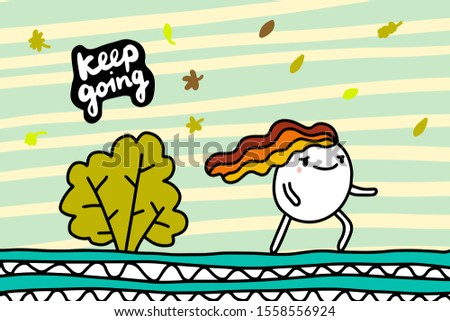 Keep going hand drawn vector background in cartoon comic style woman walking in windy weather fall lettering Photo stock ©