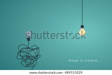 Keep it simple business concept with lightbulbs as symbol of idea, creativity. Eps10 vector illustration. Foto d'archivio ©