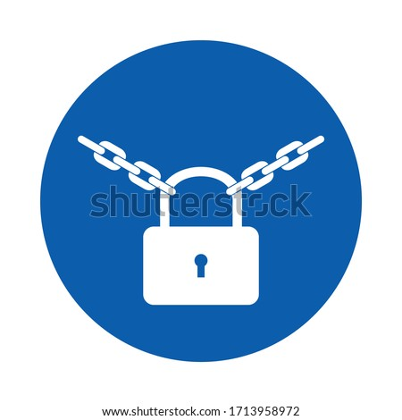 Keep locked sign or symbol. M028.    Standard ISO 7010.  Vector design isolated on white background . stock photo
