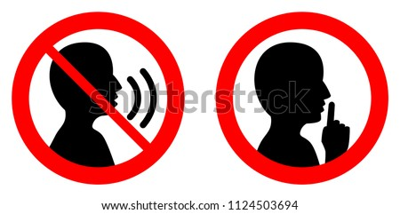 Keep quiet / silent please sign. Crossed person talking / Shhh icon in circle. Stock photo ©