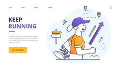 Keep Running with a sporty young woman jogging outdoors in nature in a health and fitness concept, website landing page or template design outlined flat cartoon vector illustration with copyspace