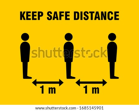 Keep Safe Distance Social Distancing in Queue 1 Meter Instruction Icon against the Spread of the Novel Coronavirus Covid-19. Vector Image.