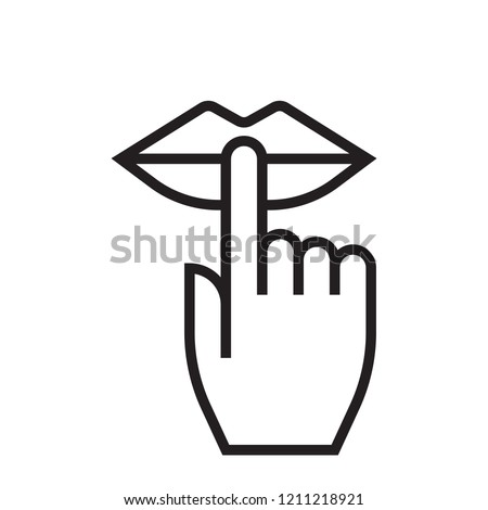 Keep silence and be quiet lips and finger silent sign, no noise vector icon