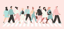 Keep social distance coronavirus (2019-nCoV), people in white medical face mask walking down the street. Concept of coronavirus quarantine vector illustration.
