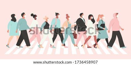 Keep social distance coronavirus (2019-nCoV), people in white medical face mask walking down the street. Concept of coronavirus quarantine vector illustration.