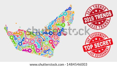 Keep United Arab Emirates map and seal stamps. Red rounded Top Secret and 2019 Trends scratched seal stamps. Bright United Arab Emirates map mosaic of different registration symbols.