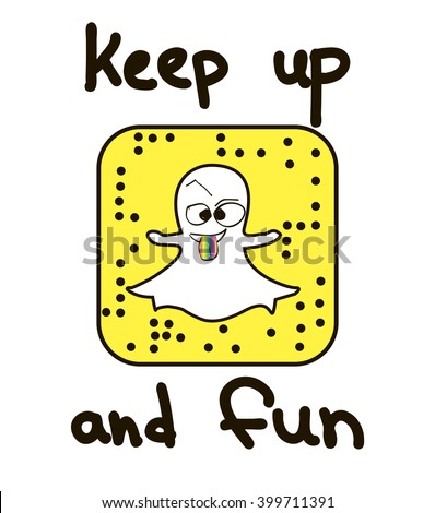 keep up and fun. happy monster for t-shirt. vector, snapchat, selfie using smartphone. Selfie icon