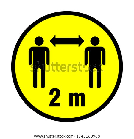 Keep Your Distance 2 m or 2 Metres Round Social Distancing Instruction Sticker Icon. Vector Image. Zdjęcia stock ©