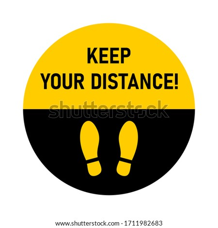 Keep Your Distance Round Floor Marking For Queue Shoe Prints Social Distancing Instruction Icon. Vector Image.